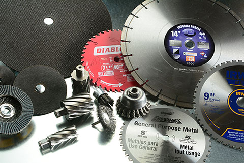 Colorful and shiny abrasives, blades and cutting equipment