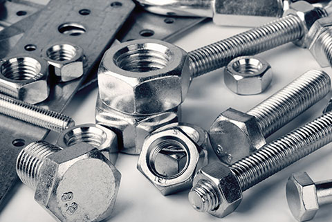 Shiny, metal fasteners in various sizes